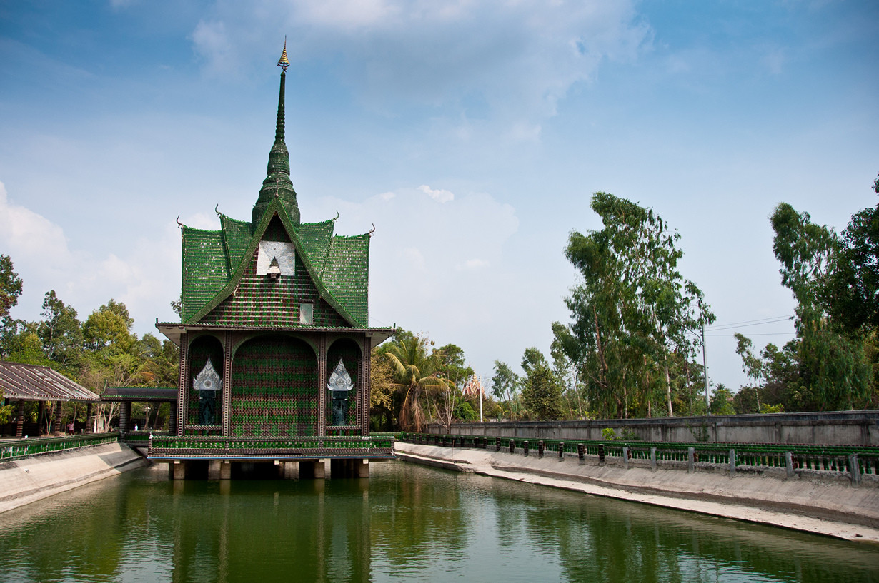 "The main building at Wat Pa Maha Chedio Kaew, more commonly know as ""The Million Bottle Temple"" or ""Wat Lan Kuad"" in Thai.  This Buddhist temple about 300 miles from Bangkok is decorated with more than a million recycled bottles."